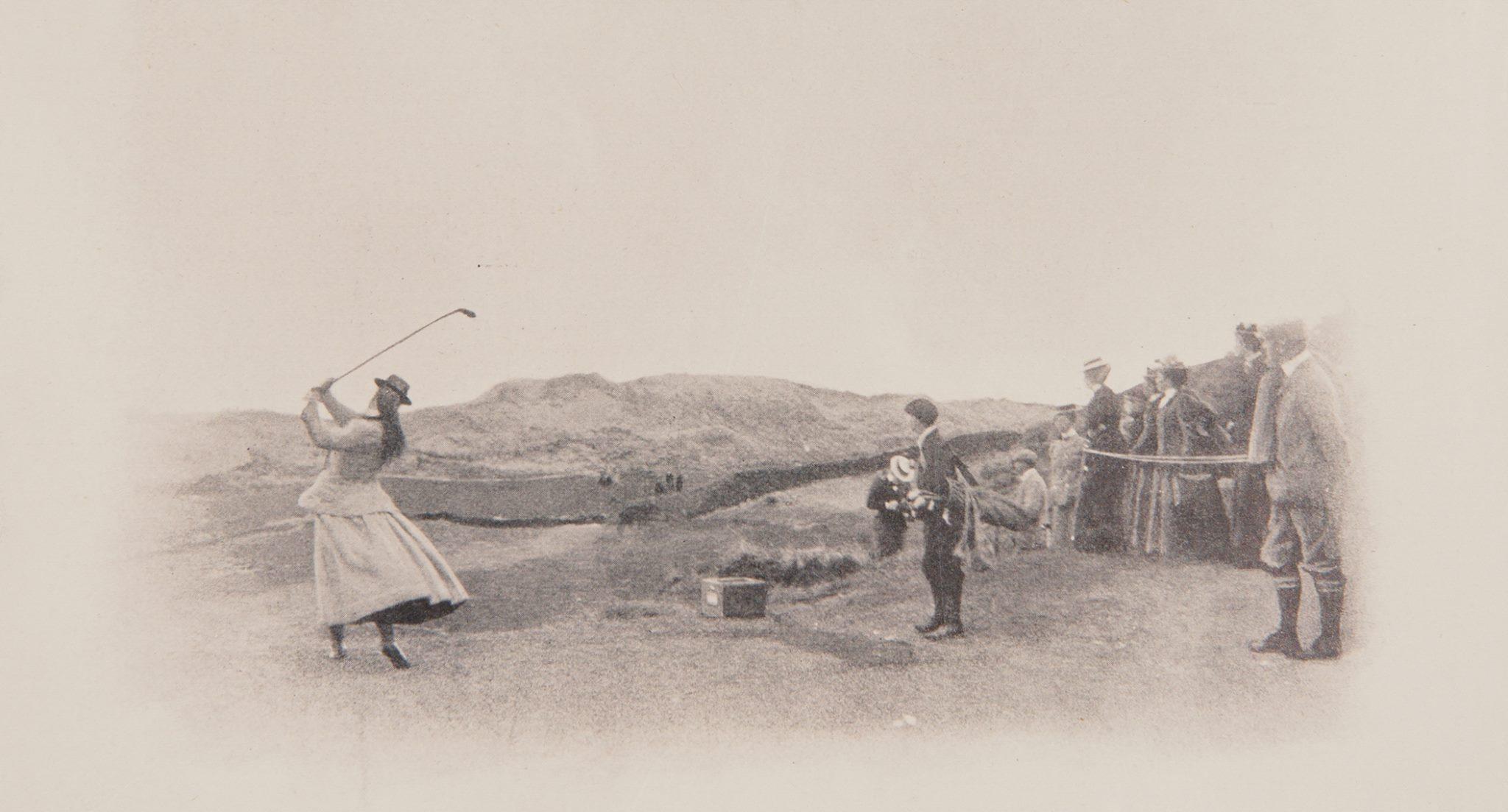 Vintage photo of golfer Mary hazlet 1899 taking a swing