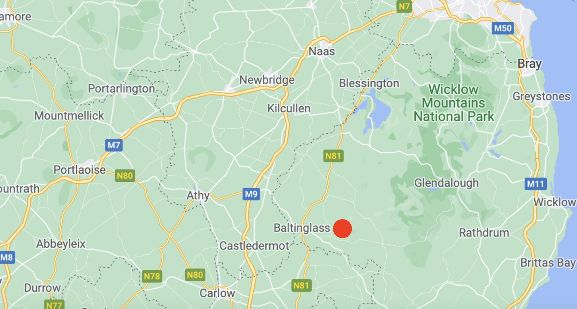 Static Map of Baltinglass in Relation to Dublin-Naas-Durrow